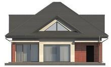 Проект коттеджа со встроенным гаражом и остекленной гостиной