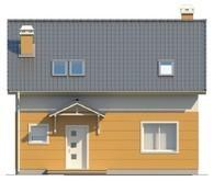 Проект коттеджа с мансардой, балконом, и кухней со стороны сада