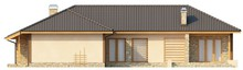 Проект одноэтажного коттеджа с гаражом для двух автомобилей и четырехскатной крышей
