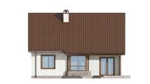 Проект небольшого уютного дачного коттеджа с двухскатной крышей