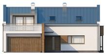 Проект коттеджа с террасой на втором этаже и пятью спальнями