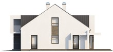 Проект современного коттеджа с мансардой и удобным балконом