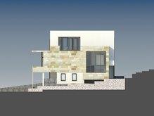 Проект трехэтажного современного особняка для наклонного участка
