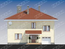 Двухэтажная загородная вилла с многоскатной крышей
