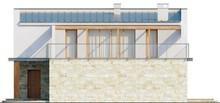 Проект двухэтажного современного дома с террасой и гаражом