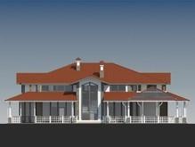 Проект представительной резиденции в американском стиле с гаражом в цоколе