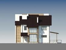 Светлый двухэтажный дом с необычной кровлей