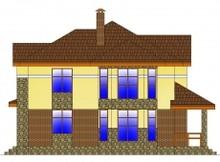Двухэтажный коттедж с фактурным фасадом