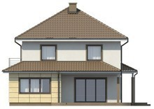 Проект двухэтажного дома с гаражом и многоскатной кровлей