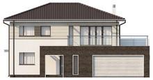Проект двухэтажного коттеджа с низкой крышей и гаражом для двух авто