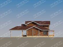 Проект 2х этажного загородного жилого дома с деревянным фасадом