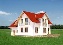 Проект для строительства дома с мансардой Т-образной формы