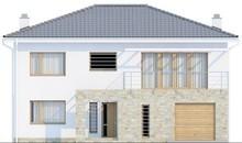 Проект двухэтажного дома с гаражом для одной машины