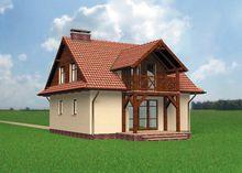 Архитектурный проект современного коттеджа с деревянным балконом и верандой