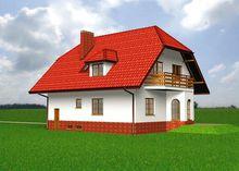 Оригинальный загородный коттедж с эркерами площадью 220 m²