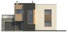 Проект двухэтажного модернистского дома с гаражом и террасой