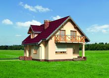Интересный коттедж с большой террасой и балконом