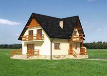 Красивый загородный особняк с цокольным этажом и небольшой верандой