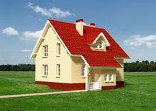Проект загородного дома с крыльцом и маленькой верандой