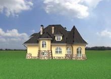 Оригинальный загородный коттедж с крышей в форме башен