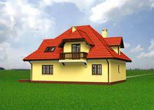 Красивый загородный дом с габаритами 10 на 13 м с балконами