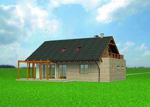 Стильный загородный коттедж с большой и светлой террасой и балконом