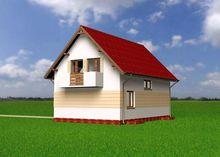 Интересный жилой дом под двускатной крышей