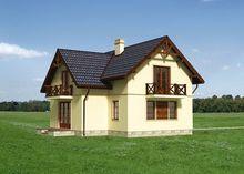 Симпатичный дом с мансардной крышей и тремя балконами