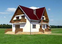 Проект домика с мансардой площадью 140 m² с гаражом