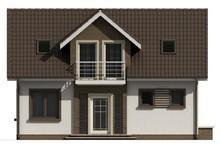 Проект обычного коттеджа с удобным балконом над входом