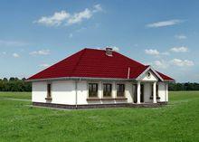 Одноэтажный коттедж с колоннами на крыльце