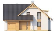 Проект дома с мансардными окнами и фронтальным гаражом