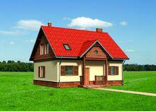 Великолепный дом с яркой крышей и желтыми стенами