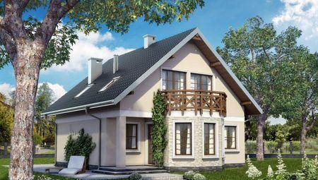 Уютный коттедж с эркером и балконом