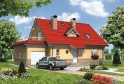Красивый двухэтажный коттедж с пристроенным гаражом для авто