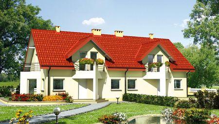 Таунхаус на две квартиры с треугольными эркерами и балконами