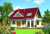 Стильный загородный коттедж с мансардой с площадью 150 m²