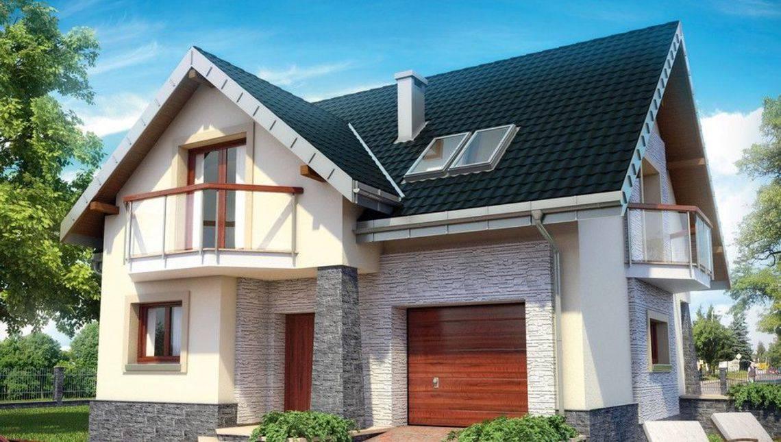 Симпатичный небольшой дом для семьи с террасой и балконами