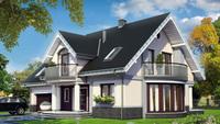 Оригинальный загородный коттедж с роскошной террасой и полукруглыми балконами