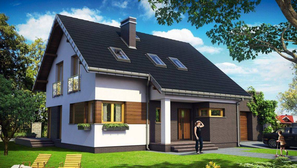Красочный жилой дом под двускатной крышей декорированный натуральными материалами