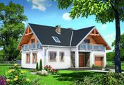 Проект уютного мансардного дома с широкими балконами