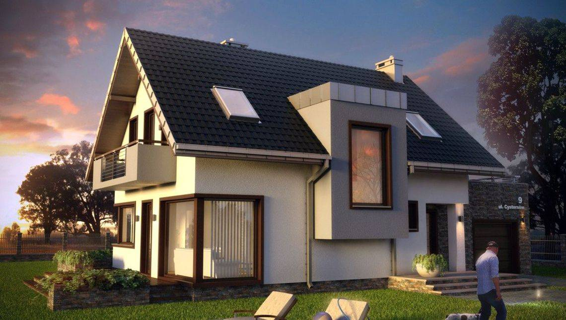 Классический проект дома с элементами модерна