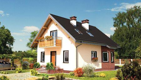 Небольшой двухэтажный домик из кирпича с эркером