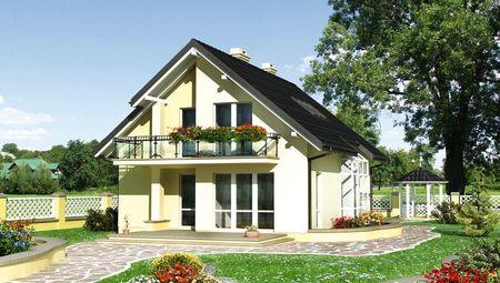 Дом в два этажа со стильными балконами