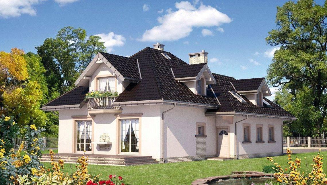 Коттедж с многоскатной крышей и гаражом для 2х авто