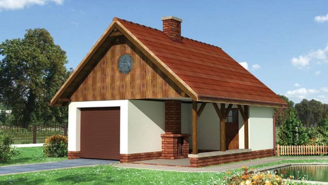 Проект гаража с внешним камином