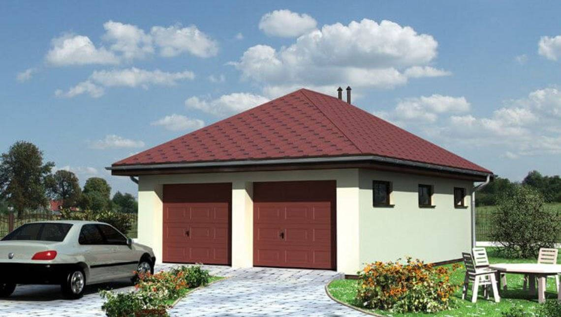 Архитектурный проект гаража на две машины