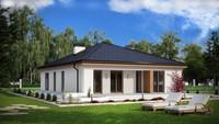 Проект одноэтажного коттеджа с 4 спальнями и гаражом