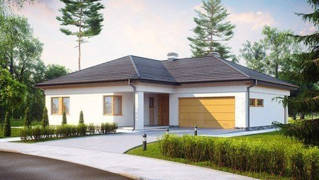 Проект функционального одноэтажного дома с гаражом для 2 автомобилей