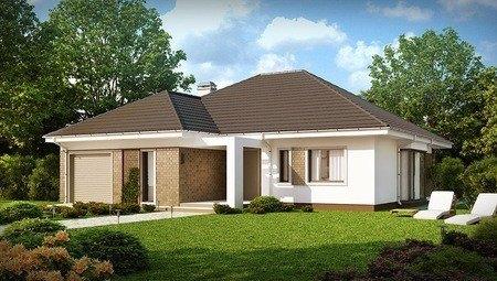 Проект одноэтажного дома с гаражом и 4 уютными спальнями